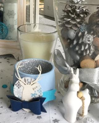 photophore bleu argenté
