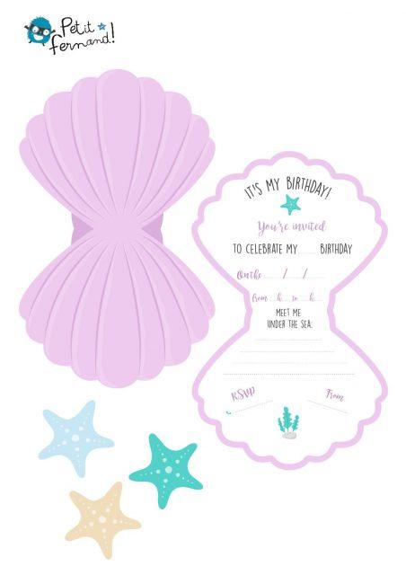 Invitation Anniversaire Sirene Template Aude Jehanne Scrap
